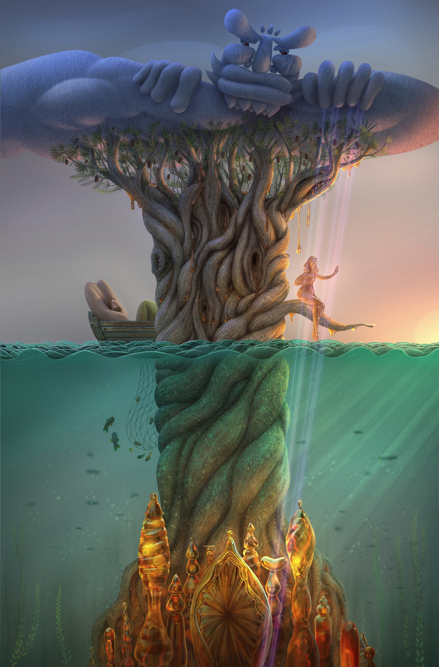 digital illustration,ILLUSTRATION ,Ocean,Tree ,Baltic,gods,Amber,Love,death,animation