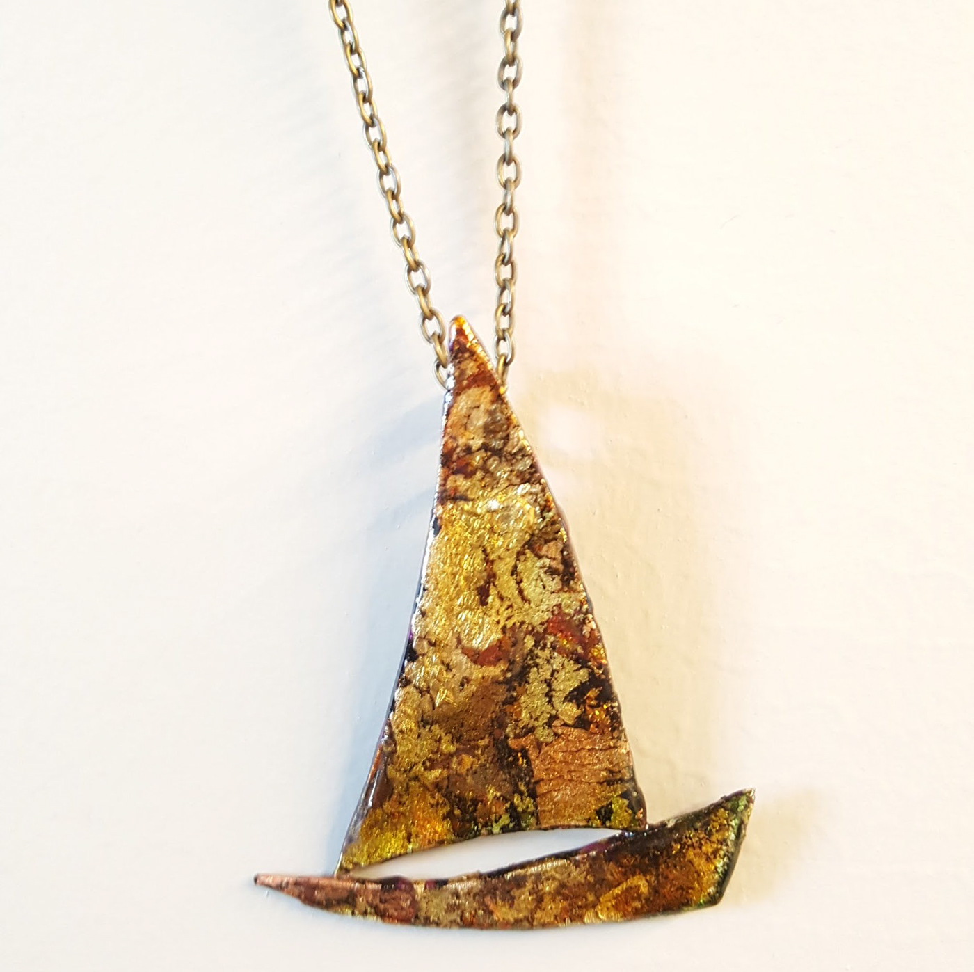 jewelry Necklace sailing boat polymer clay