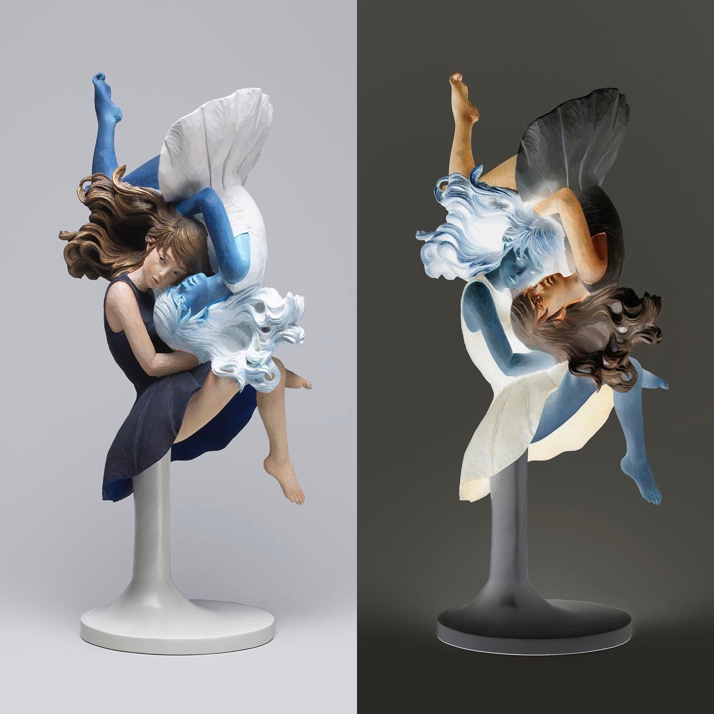 Figurative Wood Sculptures by Yoshitoshi Kanemak