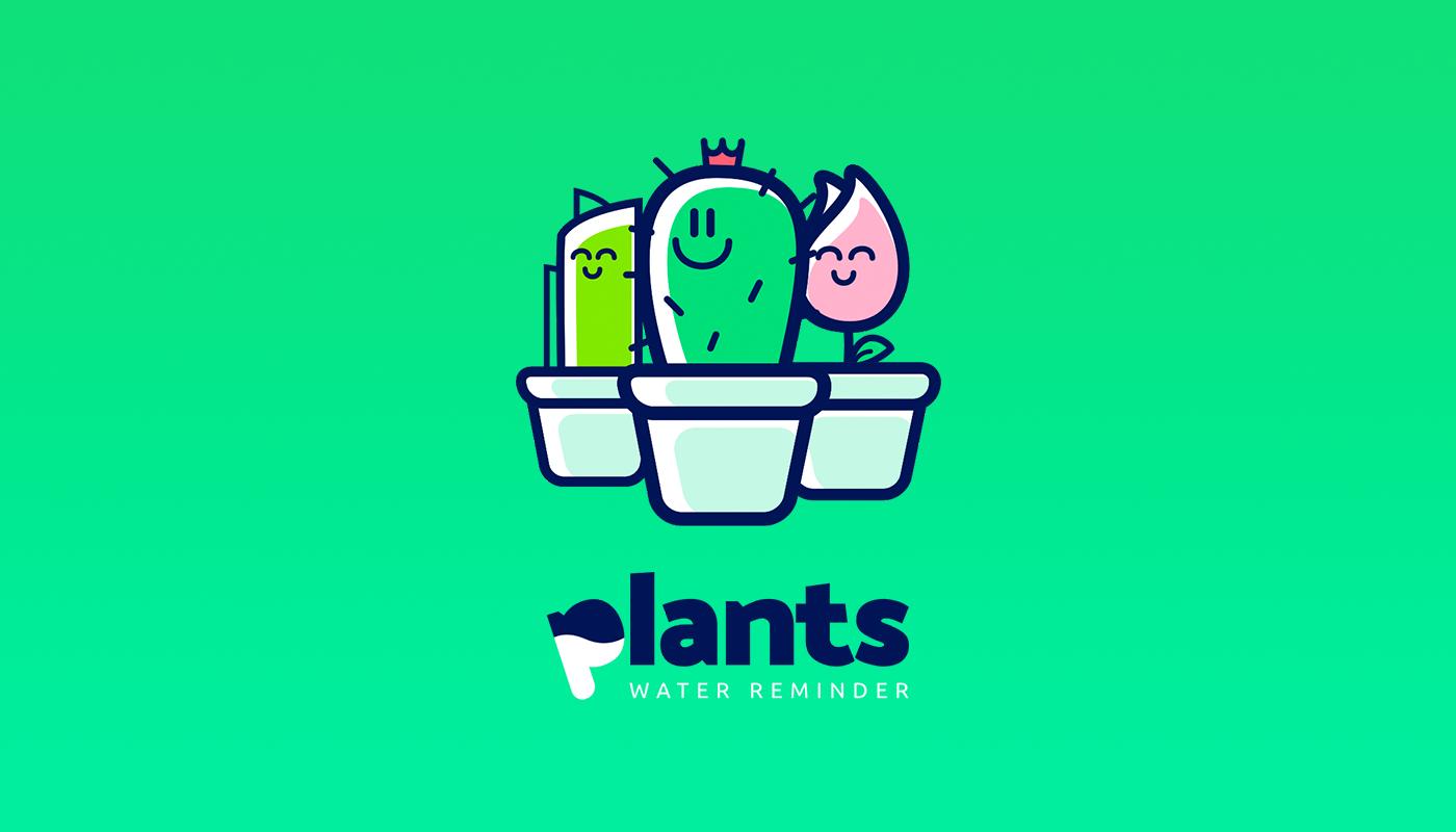 Plant water app reminder alarm UI UX design principle garden green