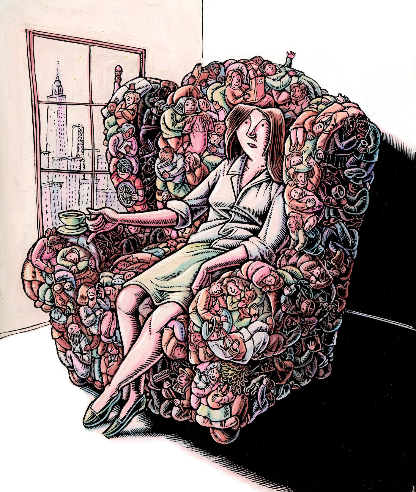 woman relaxes in chair of her friends