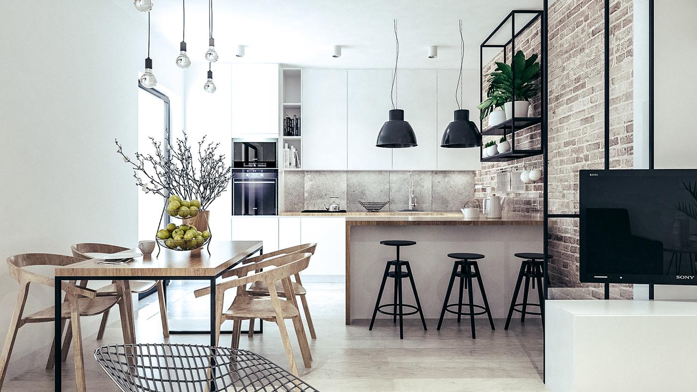 LOFT brick white kitchen oak floor black frames black apartment cracow krakow