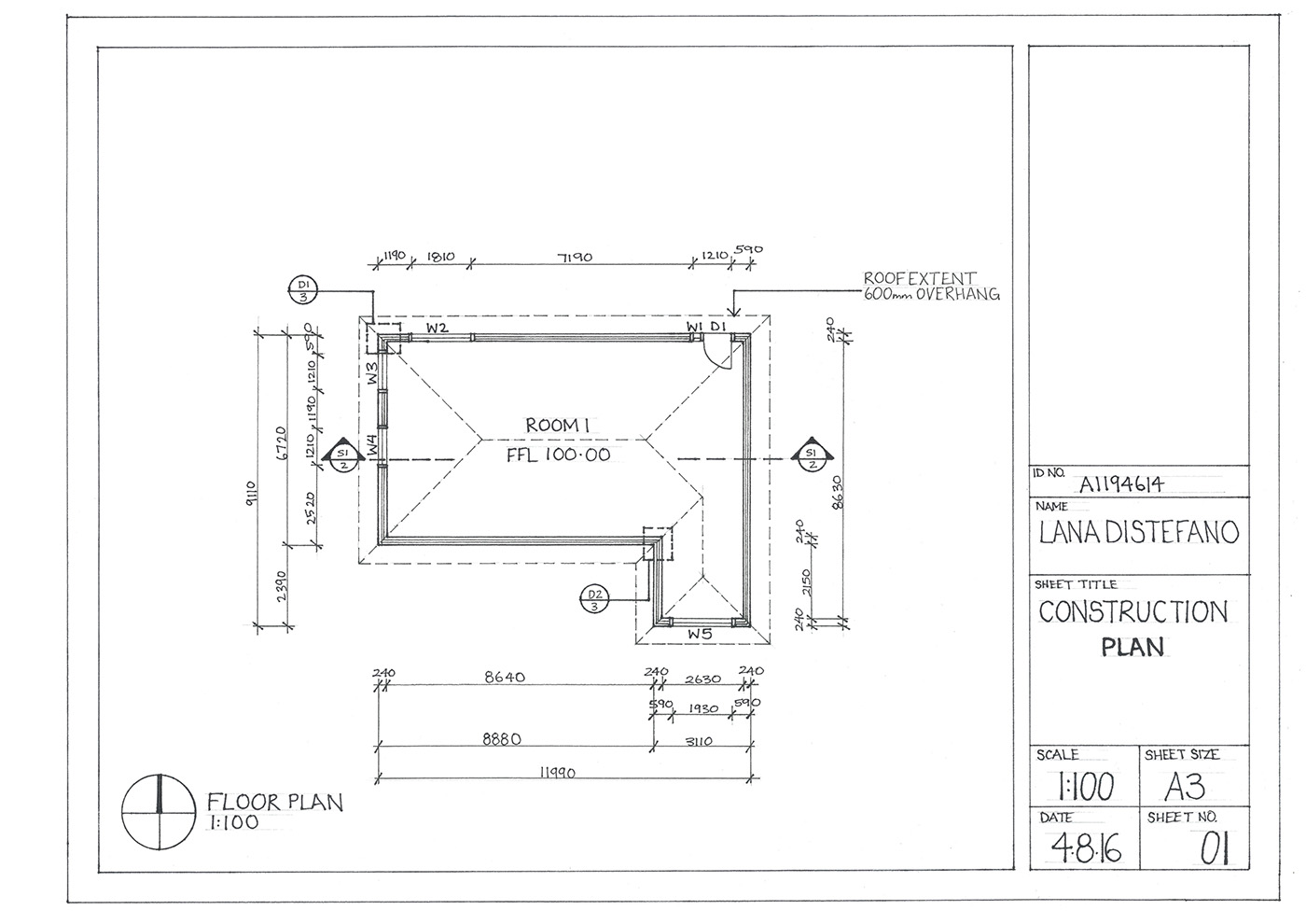 Hand drawn construction drawings on behance for Construction plan drawing