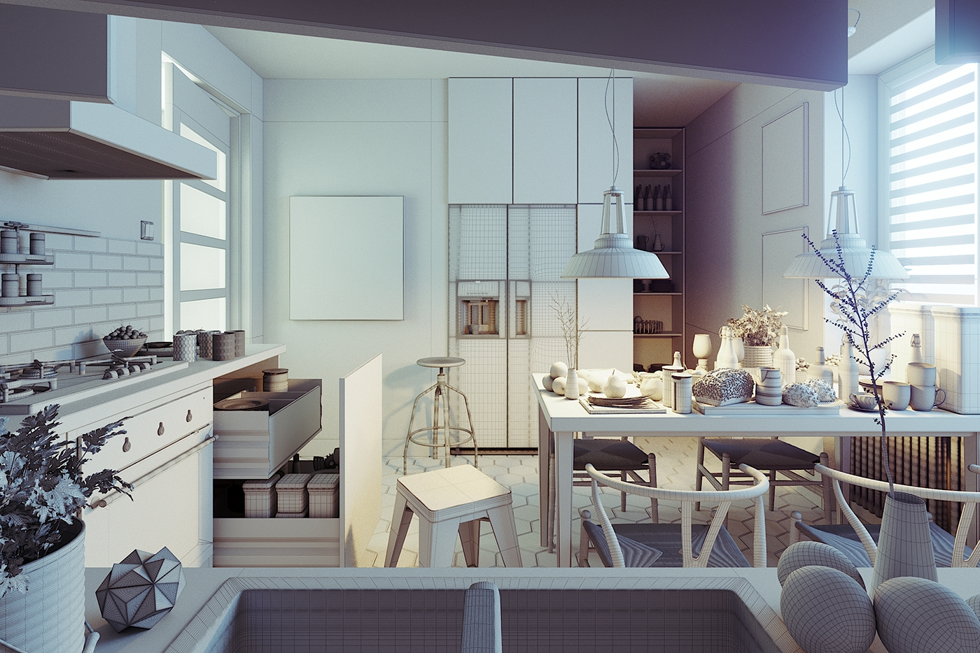 Kitchen, rendered in 3Ds Max 2014 and Corona on Behance