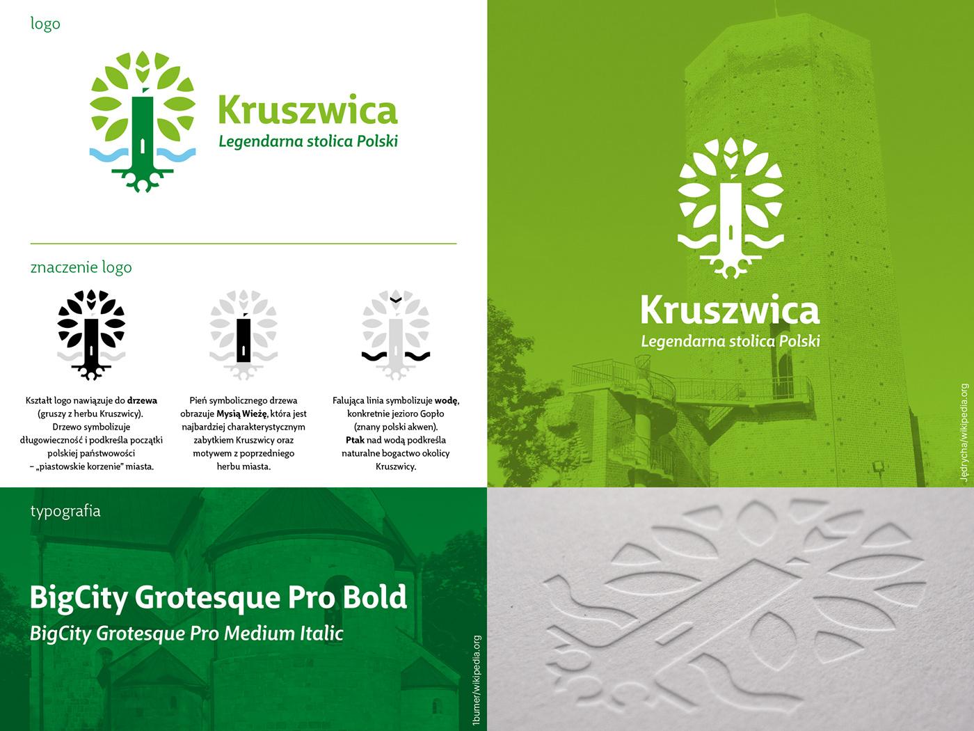 green heritage identity kruszwica logo Nature tower town Tree