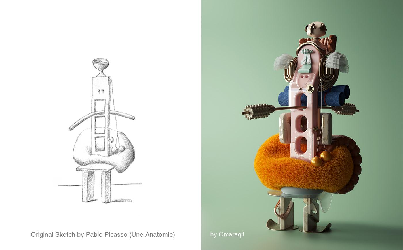 3D Fashion  figure contemporary art Picasso cinema4d design octanerender   octane