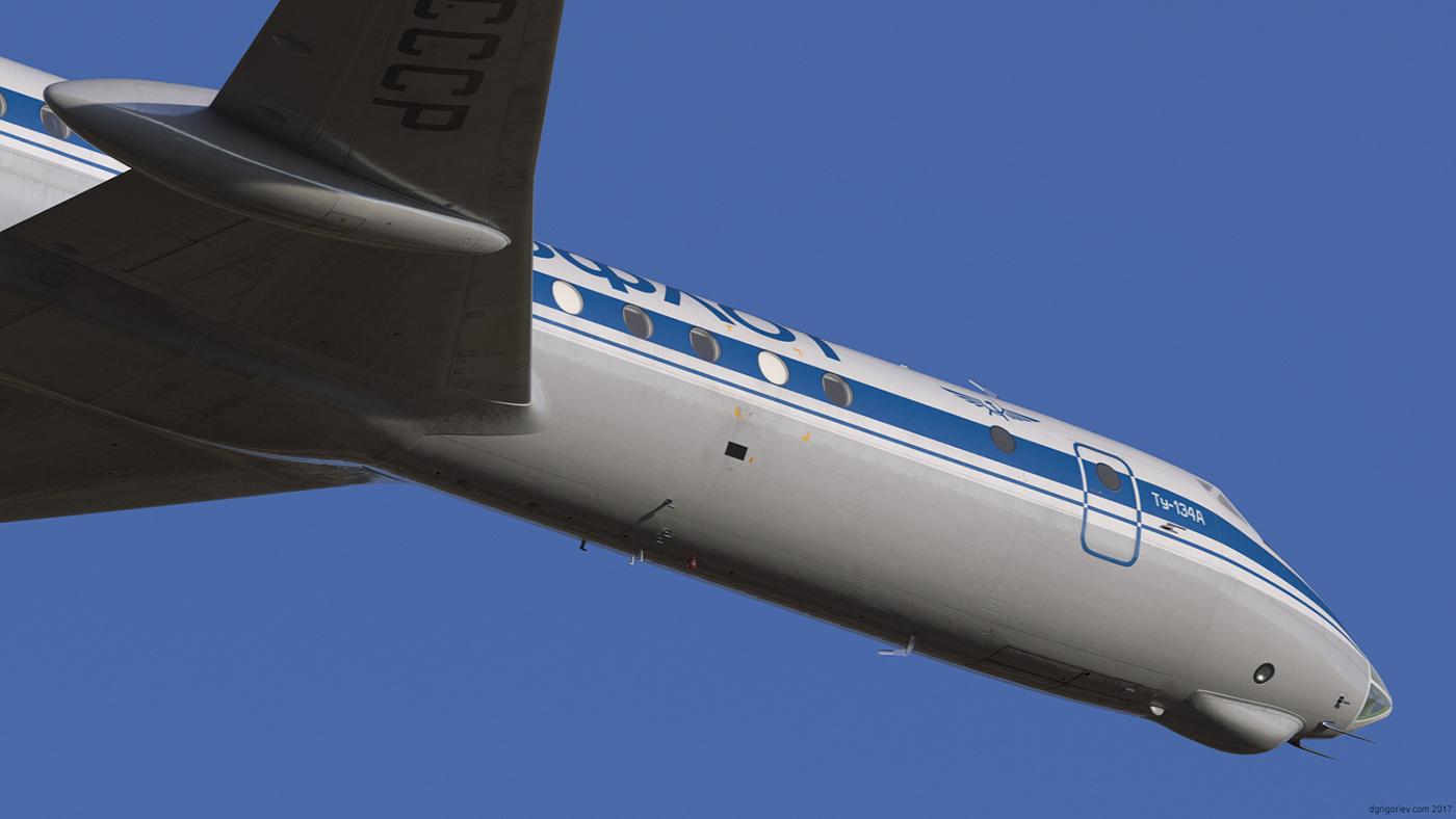 Tupolev airplane Aircraft V-ray rendering photorealistic 3dsmax Maya Render aeroflot