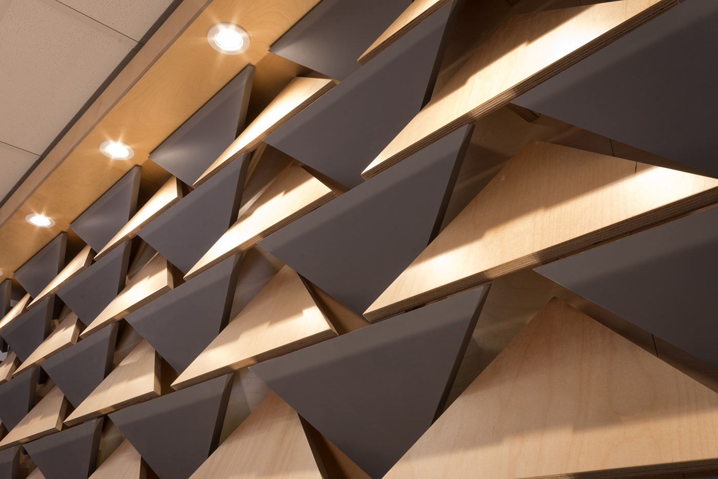 interior design  Acoustic panels plywood raw materials natural Polygons Triangles studio