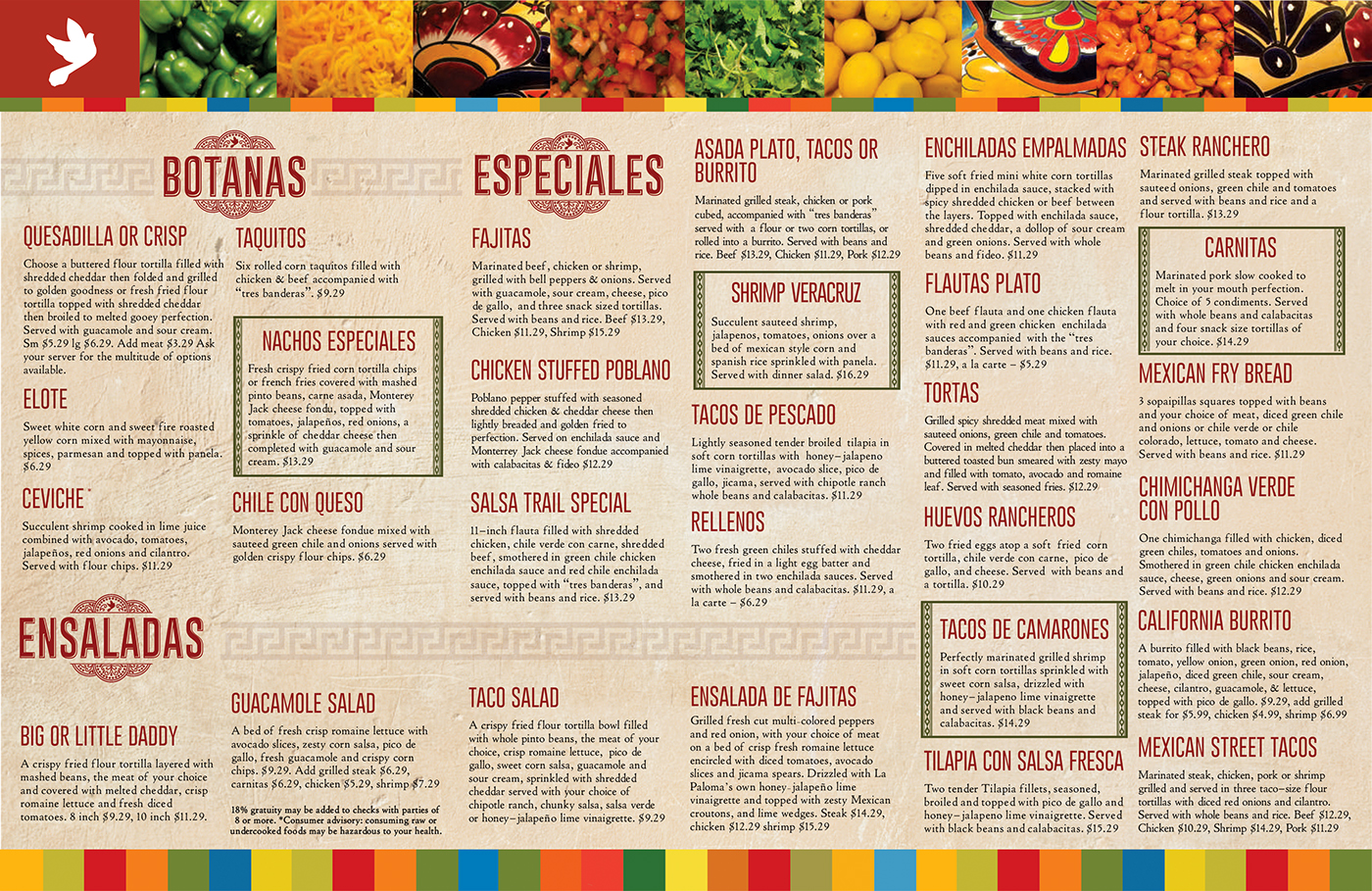 menu design - la paloma mexican restaurant on behance