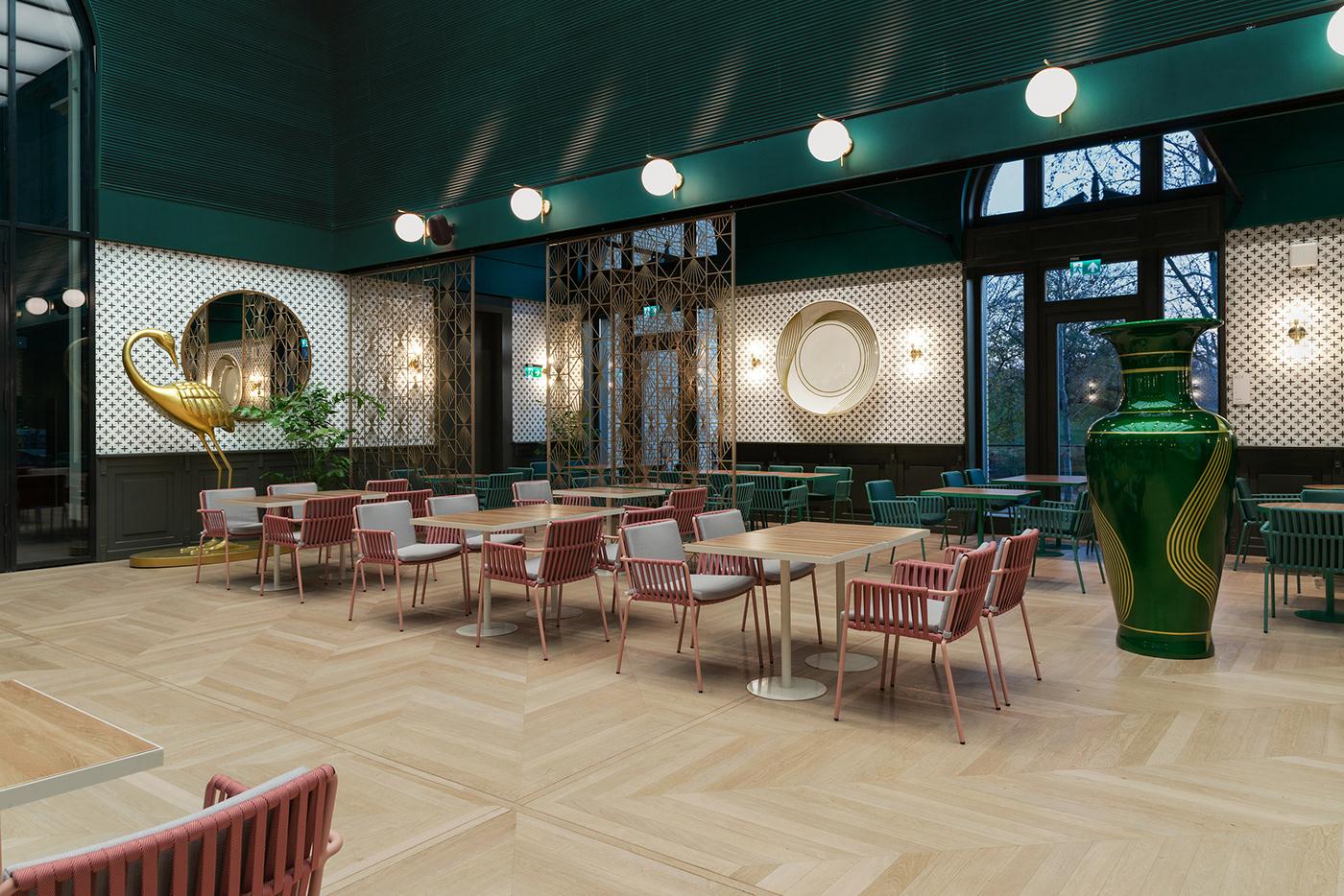 restaurant interior cafe interior Grand Cafe art nouveau Deep green interior Zsolnay
