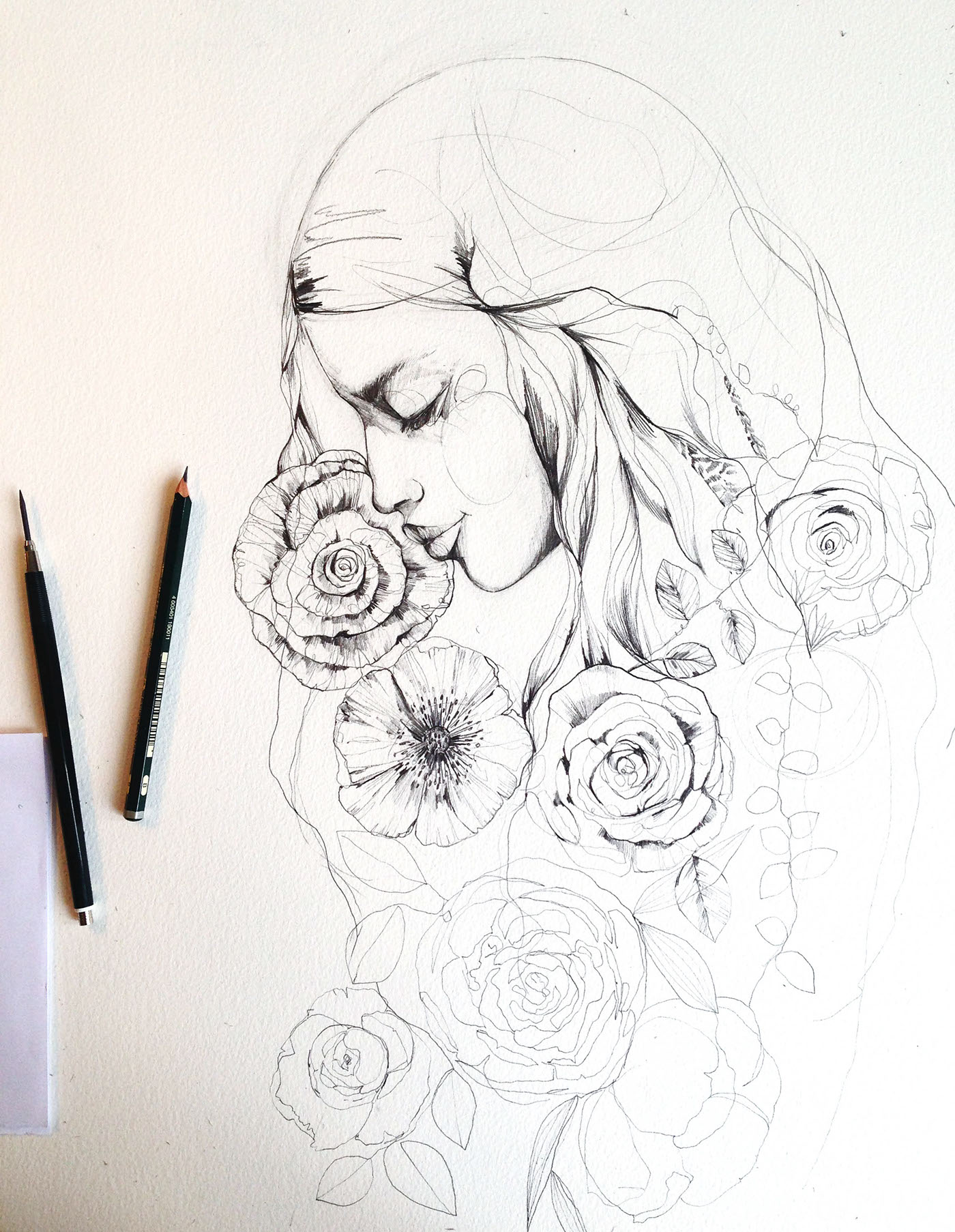 Pencil sketches flowers 2016 on behance