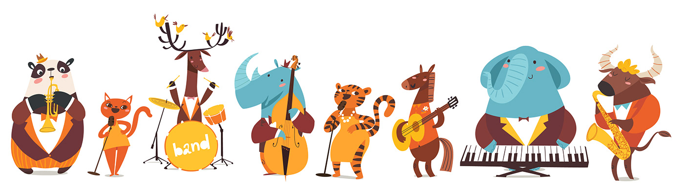 jazz musicians in cartoon style characters