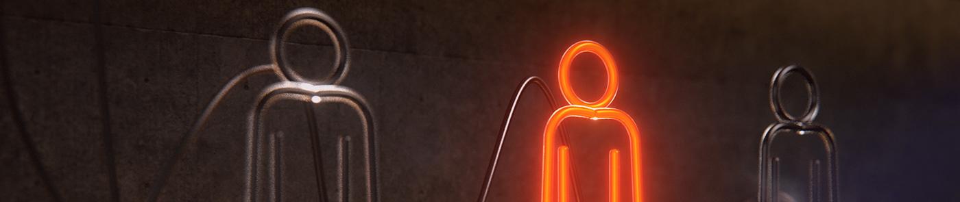 redshift broadcasting neon red tv animation  c4d orange bulb billboard