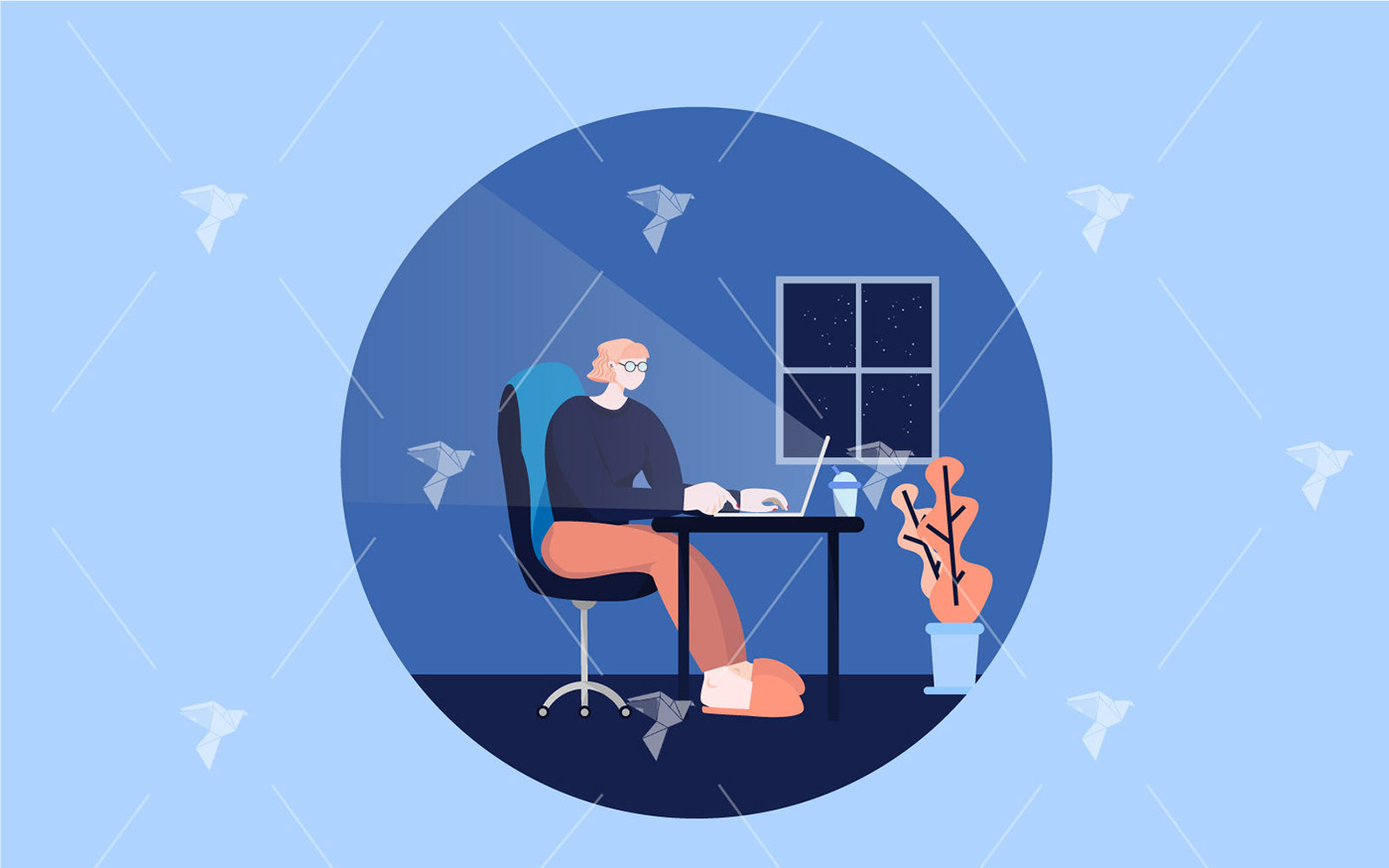 Character cozy Freelance home ILLUSTRATION  Illustrator Laptop woman Work  work from home