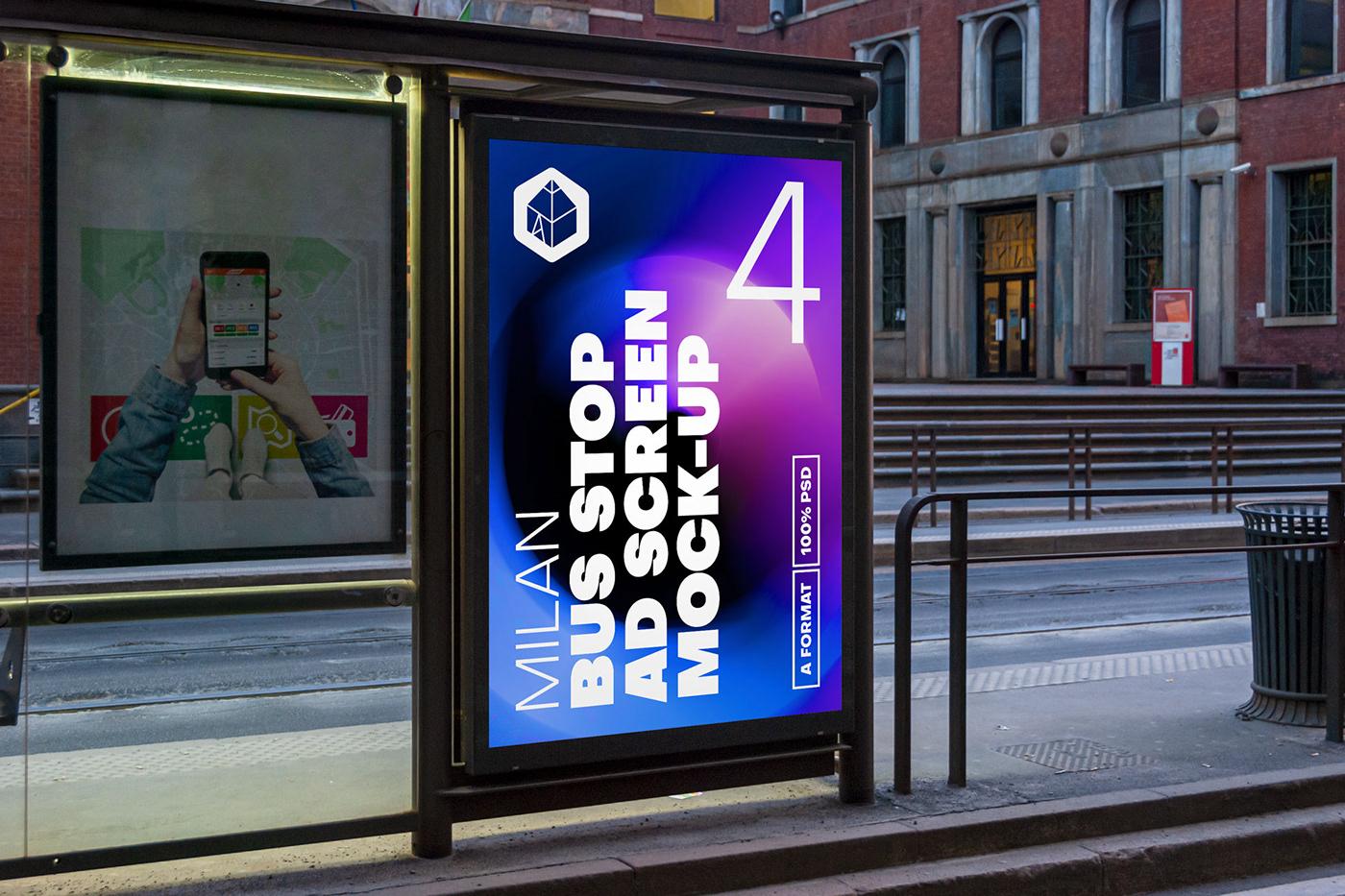 ad Advertising  bus BusStop milan mock-up Mockup poster screen Street