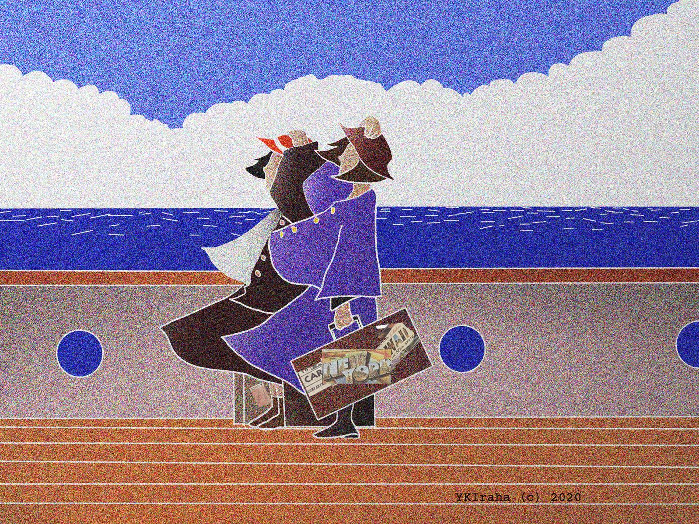 Yukio Kevin Iraha's digital illustration about travelers