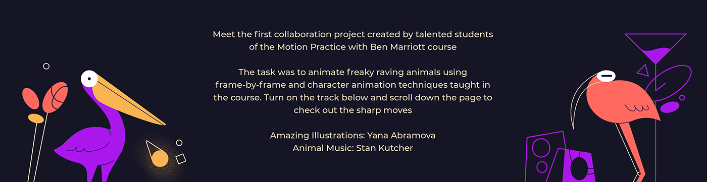 animal ben marriott character animation DANCE   Frame-by-frame party freak rave motion design school Motion practice