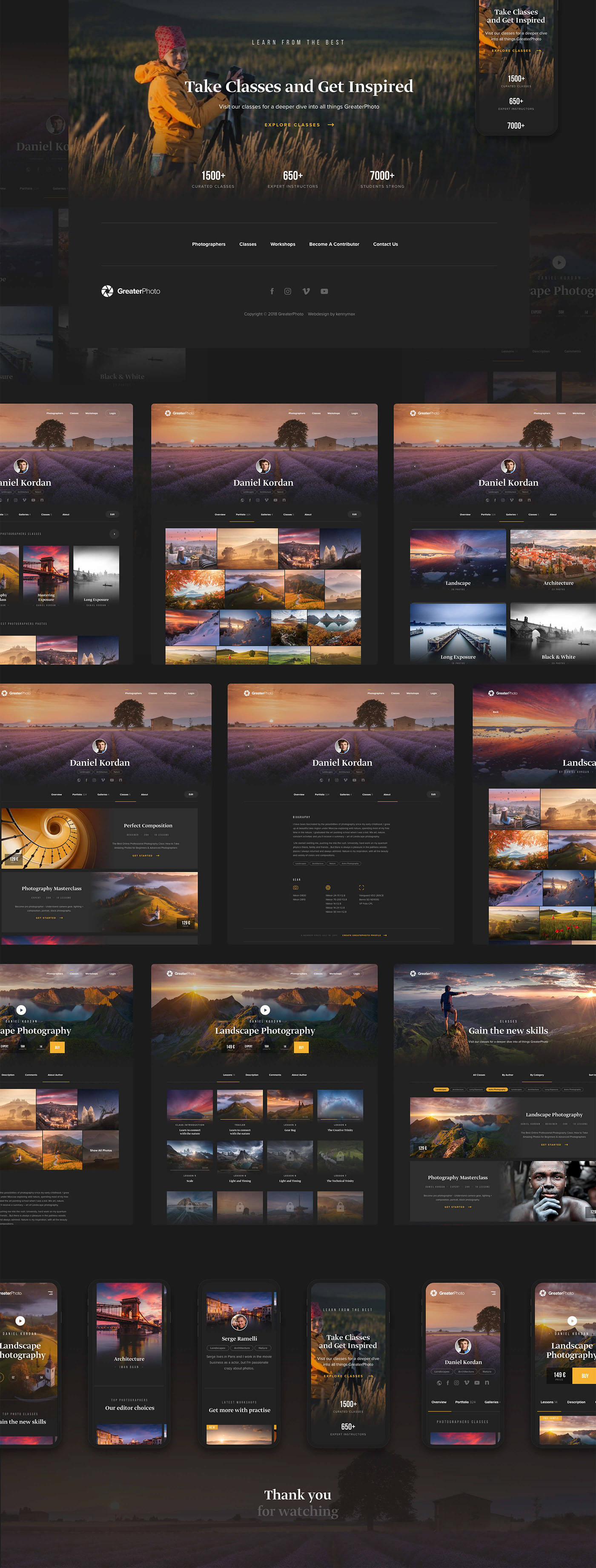 Adobe Portfolio Webdesign user interface Photography  dark user experience Slovak clean LandinPage Responsive