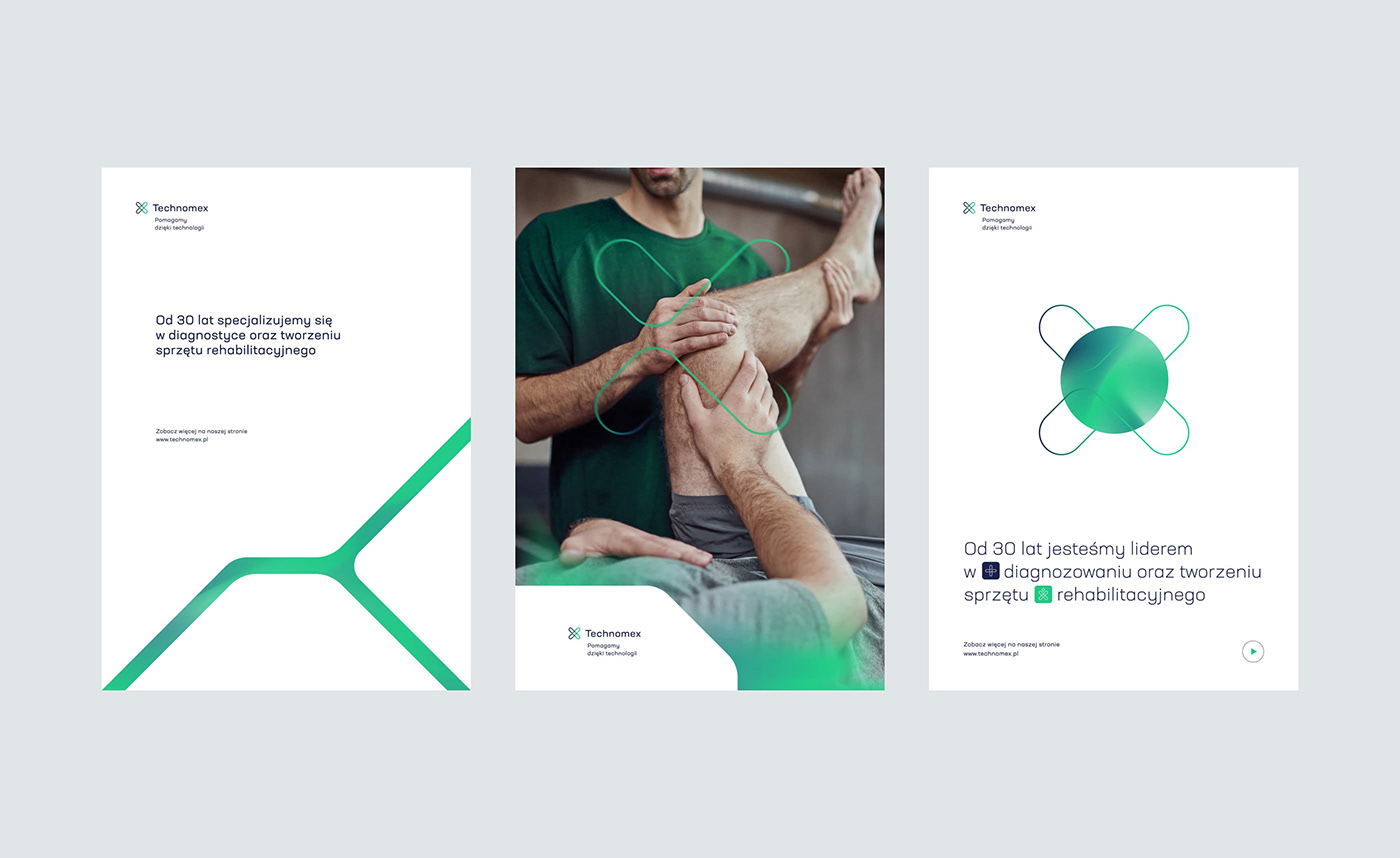 clean helping key visual minimal move rehabilitation Technology X logo Mateusz Pałka symbol studio