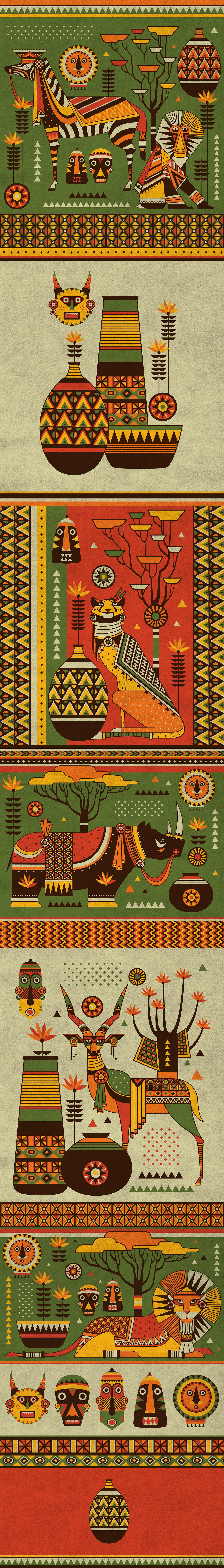 africa Patterns vector African animals african tribes cheetah Rhino zebra antelope mandrill