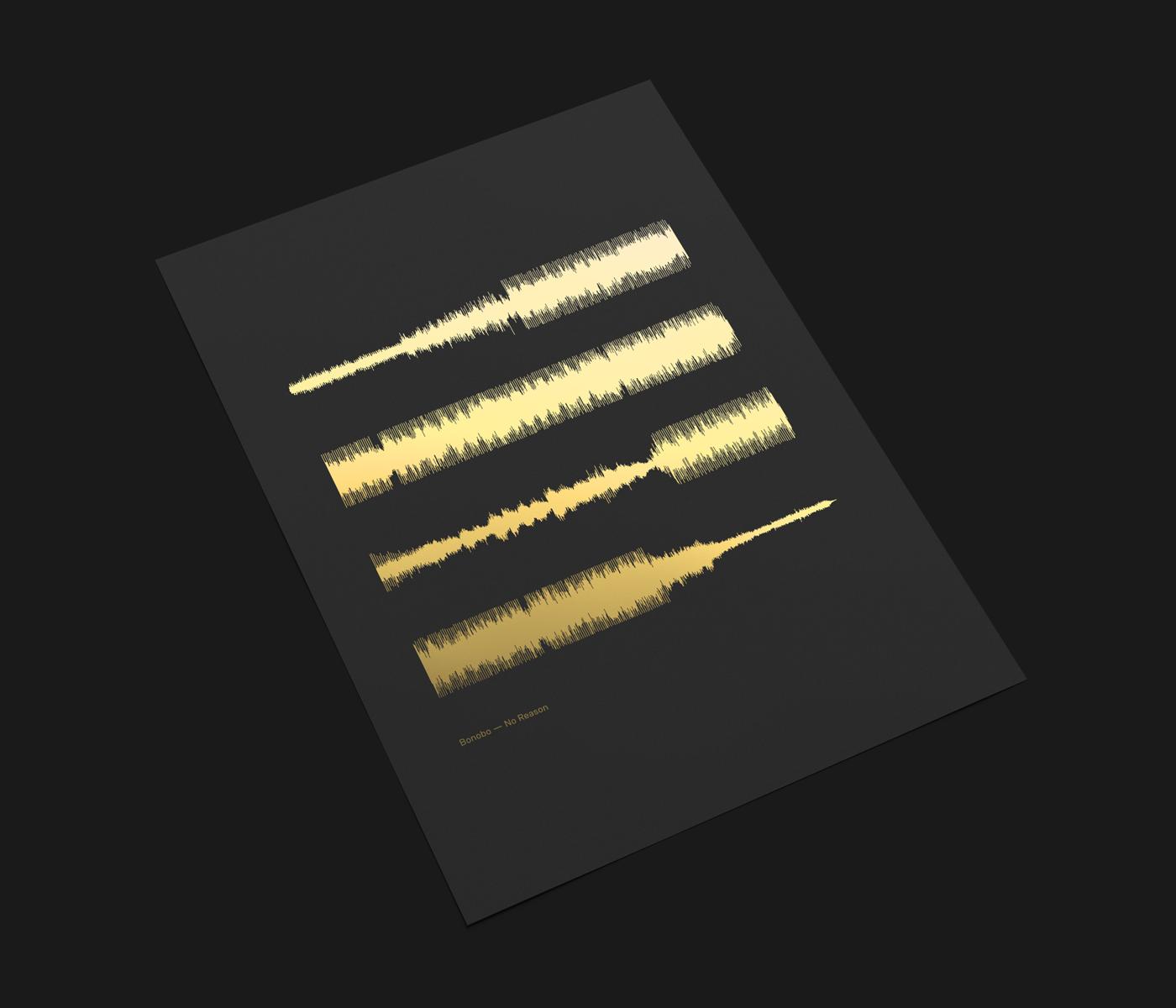 waveform poster music design Audio foiling graphic design  art direction  ILLUSTRATION  songs