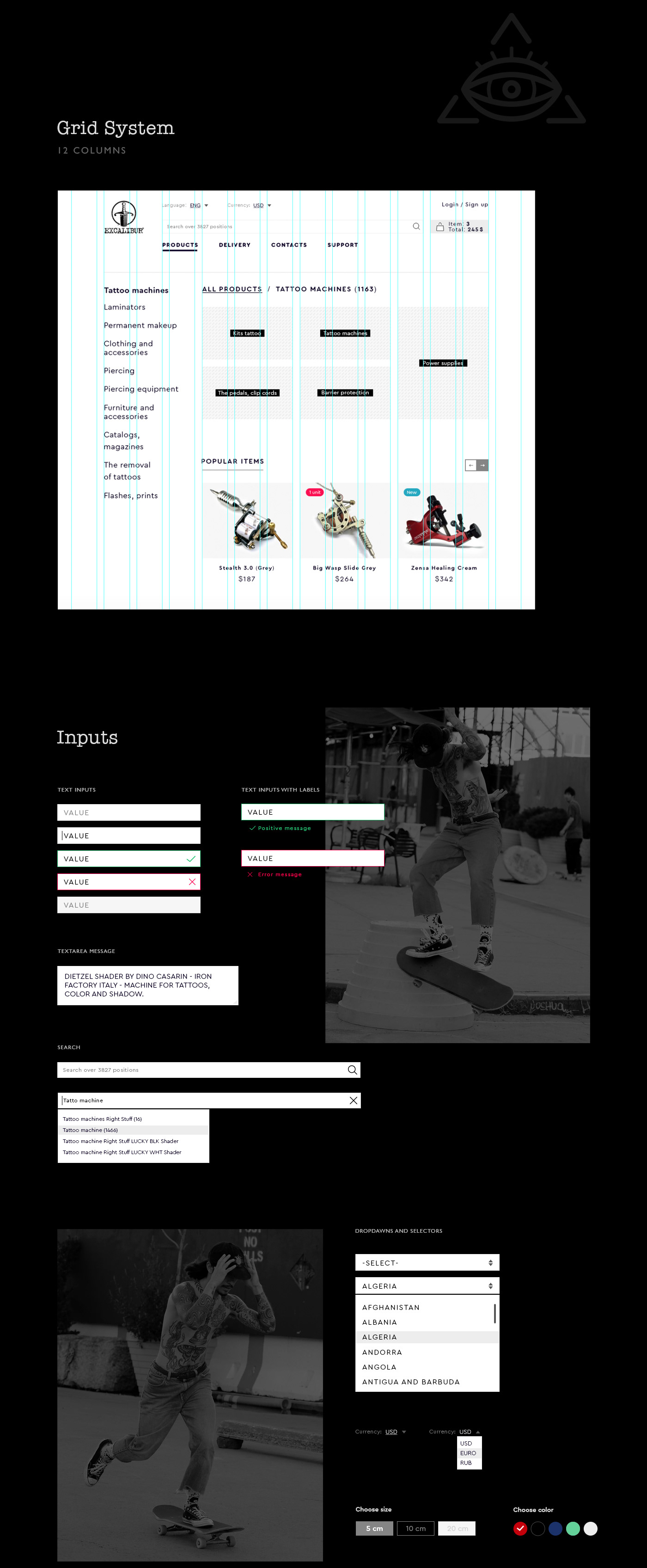 tattoo shop store black Style Adaptive user interface user experience Web Design  e-commerce