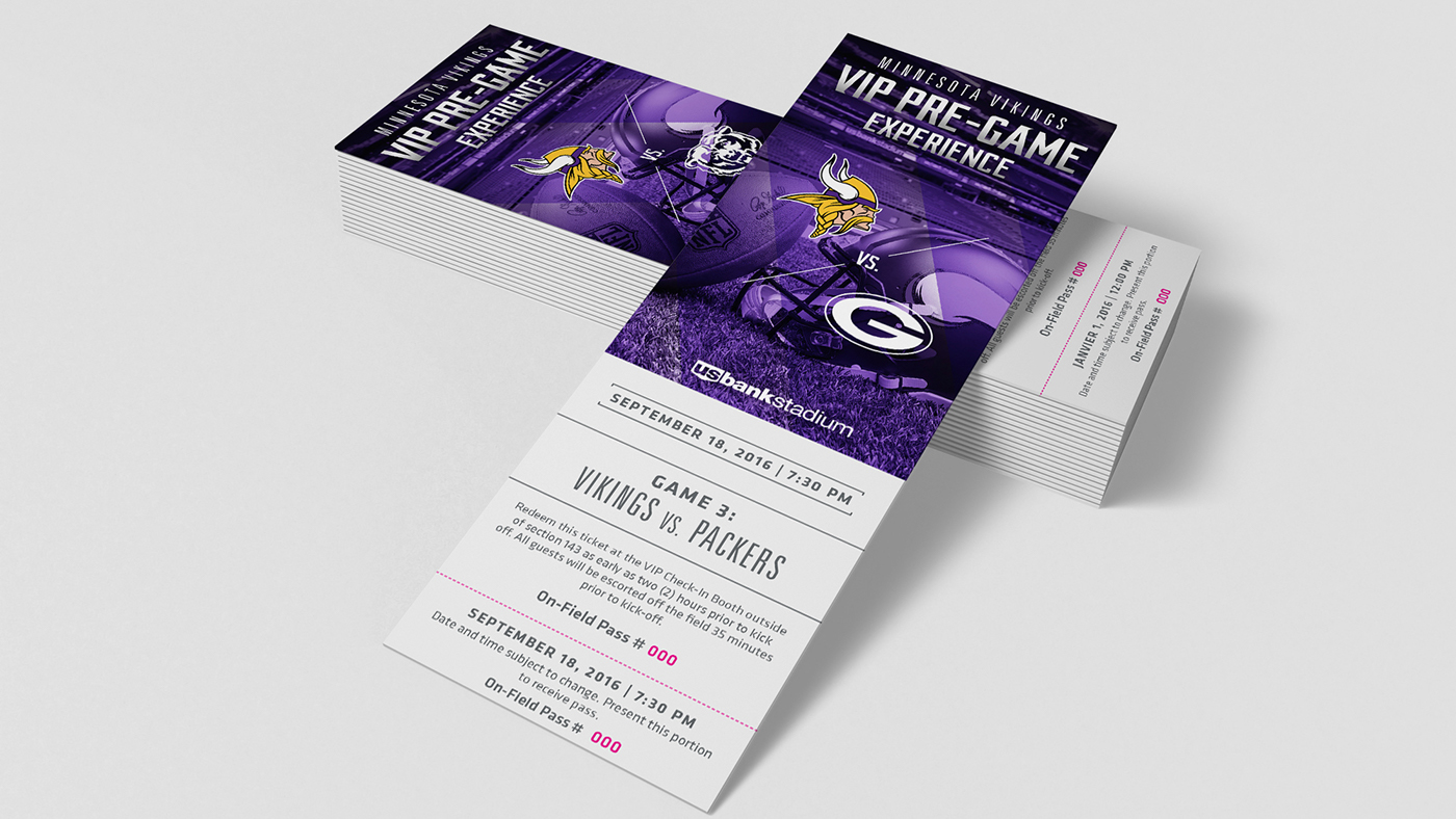 New Minnesota Vikings VIP Pre Game Experience Tickets on Behance