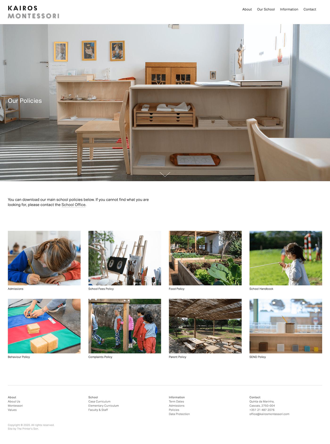 grid based Kairos Montessori school squarespace The Printer's Son