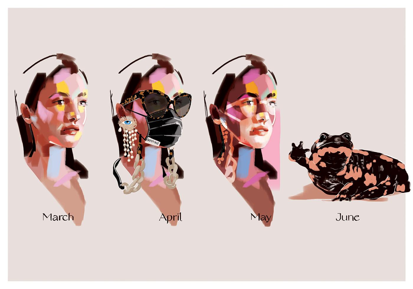 Balenciaga Fashion  ILLUSTRATION  mask painting   portrait Schiaparelli sketch Sunglasses woman
