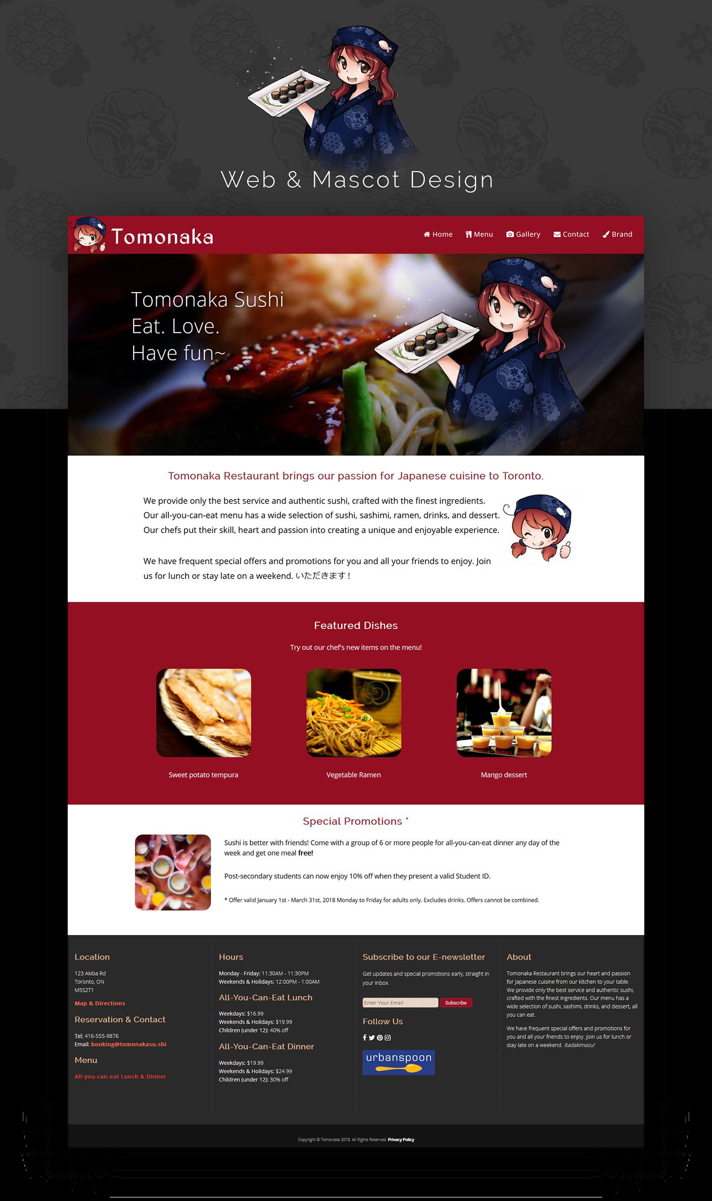 Web Design  ILLUSTRATION  Sushi restaurant Website anime Responsive menu Sashimi japan