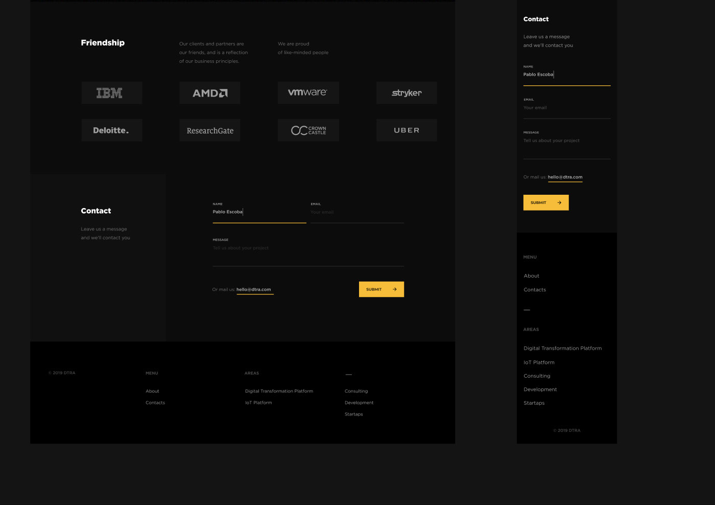 ux/ui concept agency Transformation digital company Platform dark Website promo