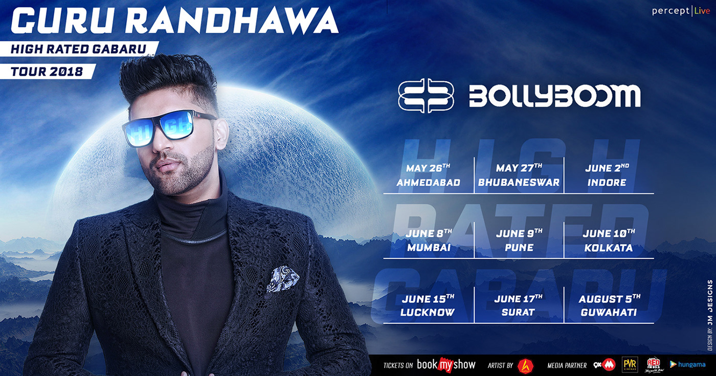 Guru Randhawa high rated gabaru tour India itsJMDesigns live multi city creative artwork Promotion