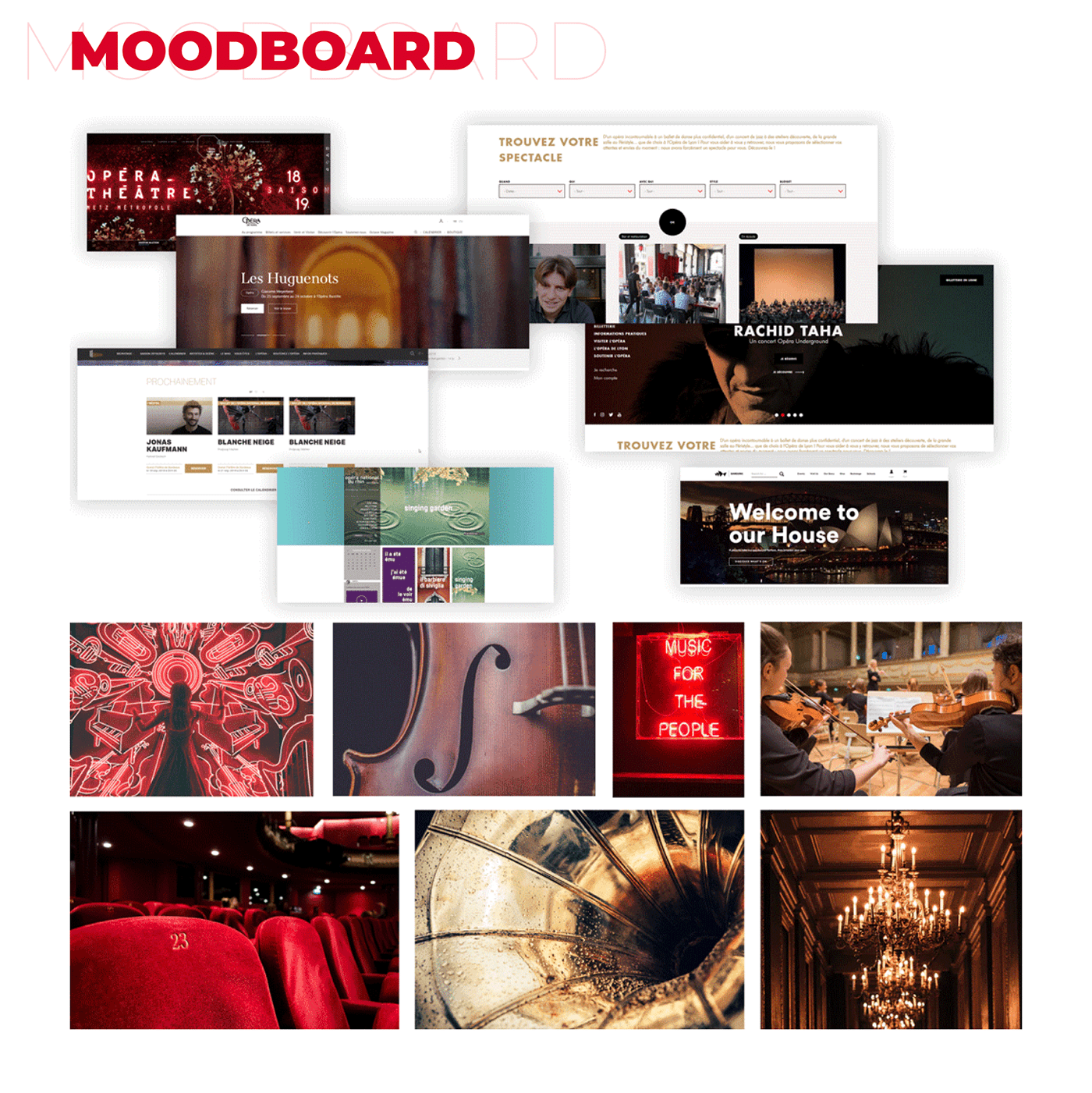 Moodboard for Opera House Website : Inspiration photos and websites