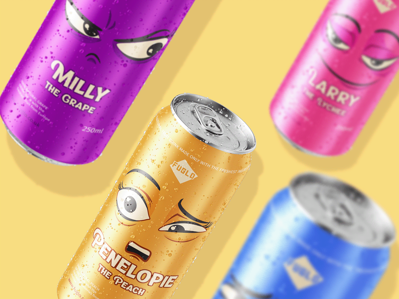 soda cans branded with colorful design