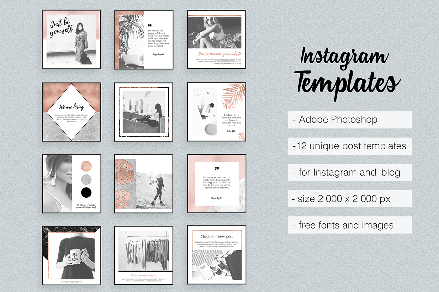 Instagram Templates Feminine Elegant Rose GoId Marble on Behance