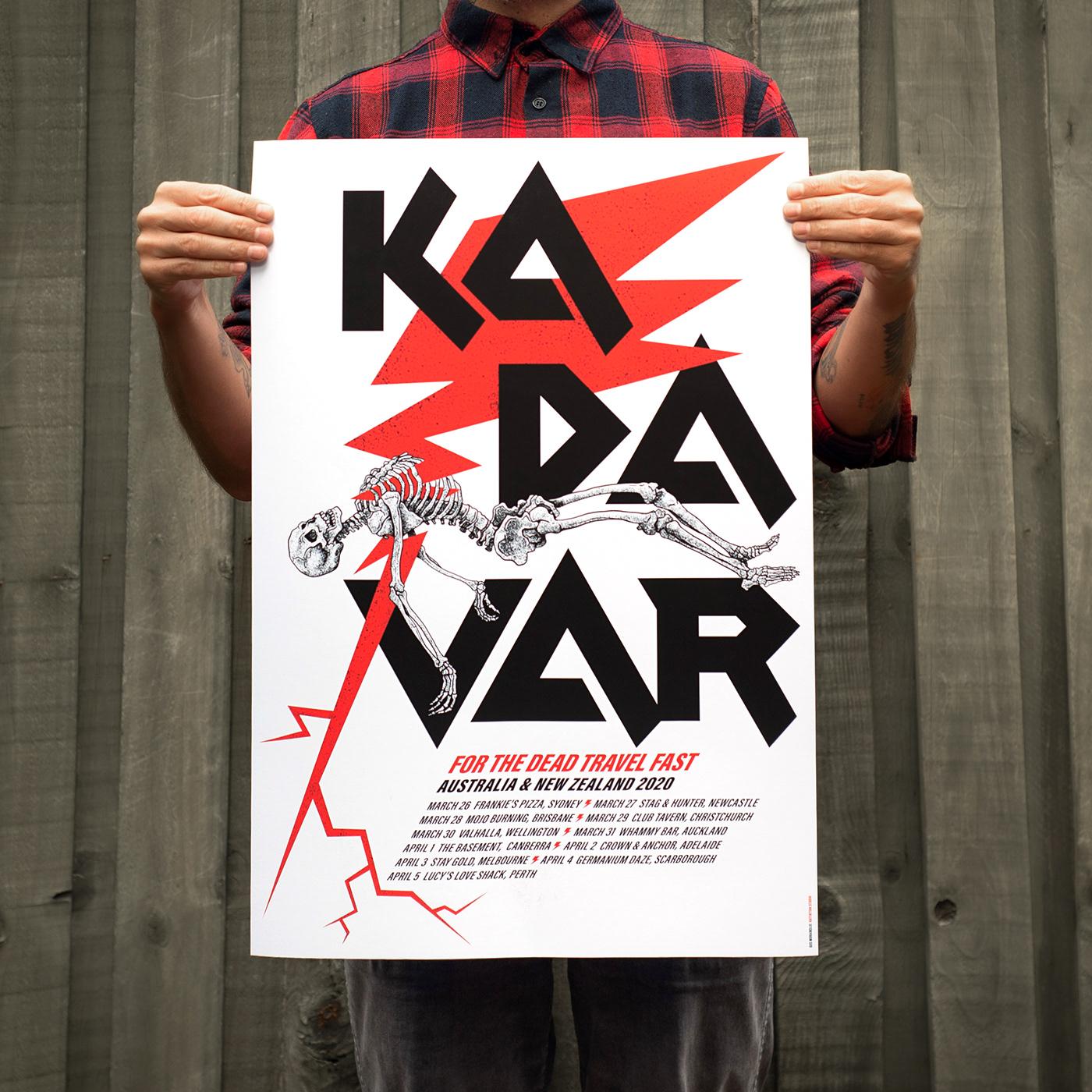 A2 Poster design for Kadavar Australia and New Zealand Tour 2020.