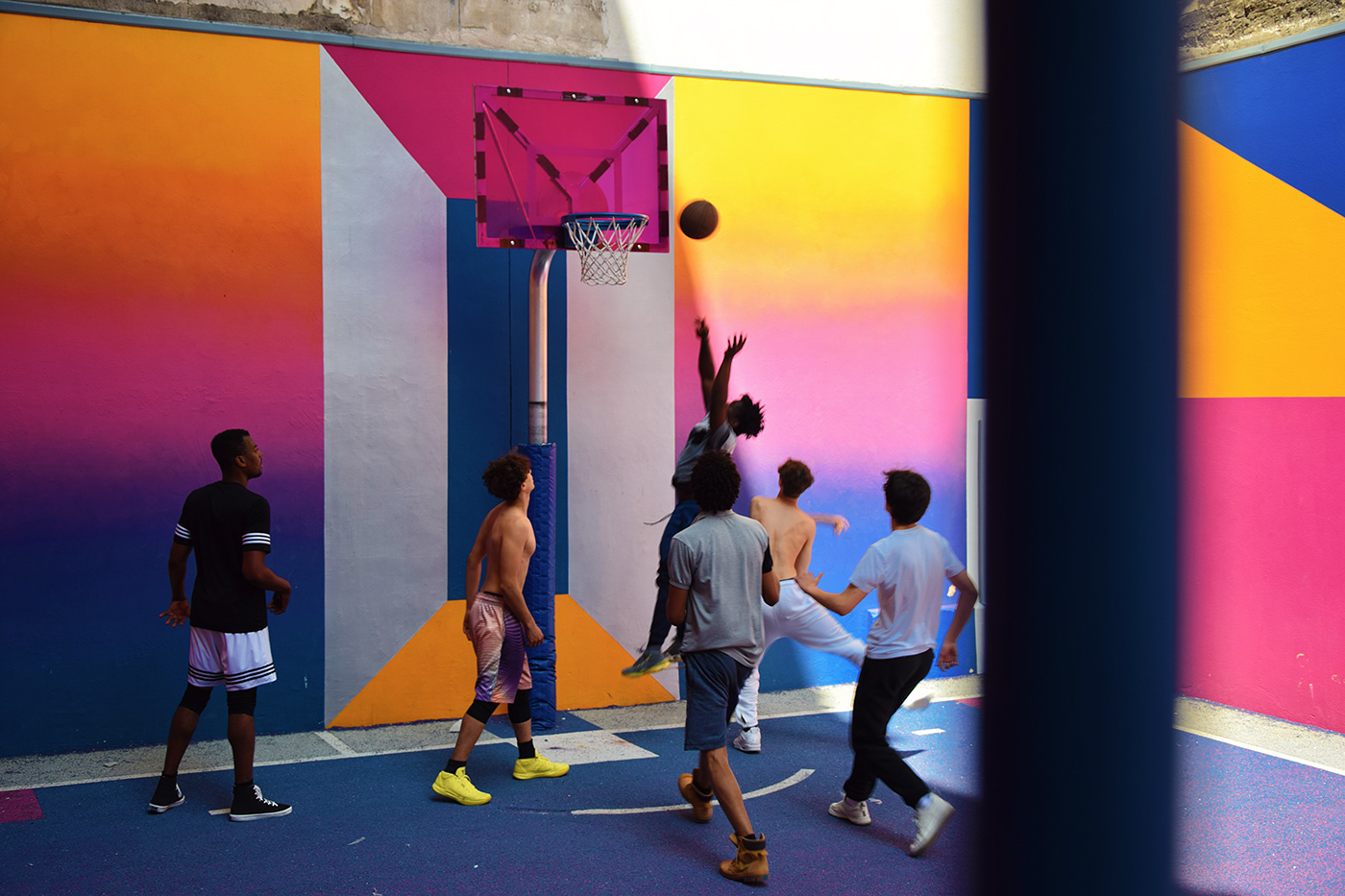 basketball Playground graphic vivid Gradiation colors portrait architecture streetart painting