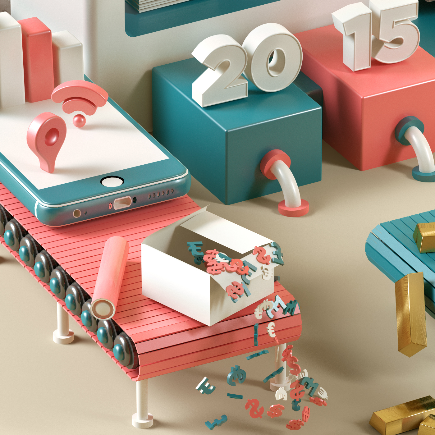 cinema4d,3D,economia,editorial