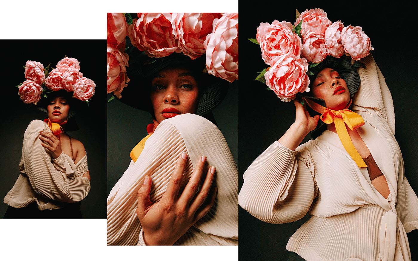 art direction  creative editorial Fashion  Flowers makeup retouch woman