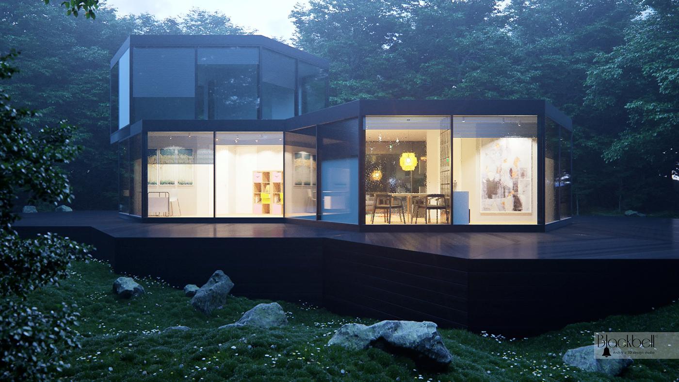 Awards 3d interior design 3d vesualizations exterior ideas hexagonal home BlackBell