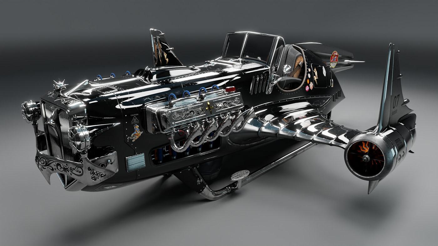 3D air blender car Fly hot rod oldschool Render spaceship STEAMPUNK