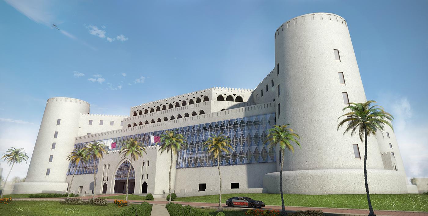 visualisation exterior design Military arabic doha Qatar lattice traditional