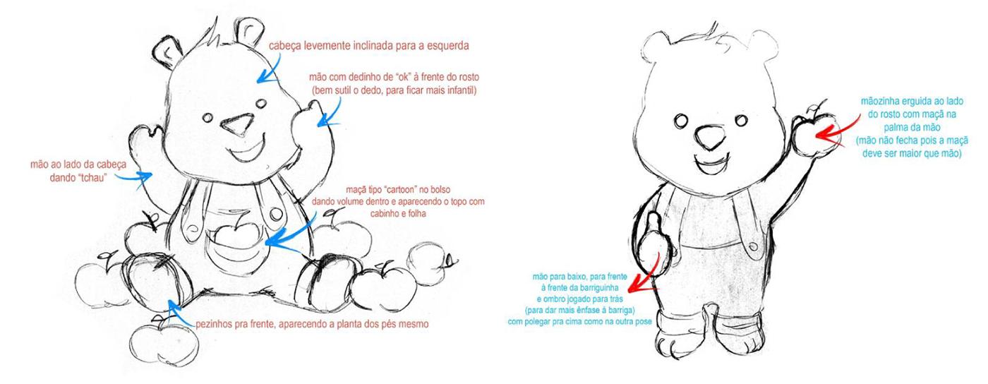 3D personagem urso joquinha maçã maças aleto aleto design aleto design digital