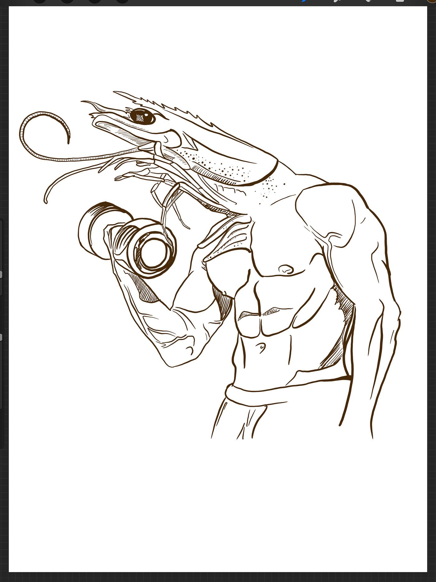 ilustracion gym draw iPad Procreate prawn swrimp