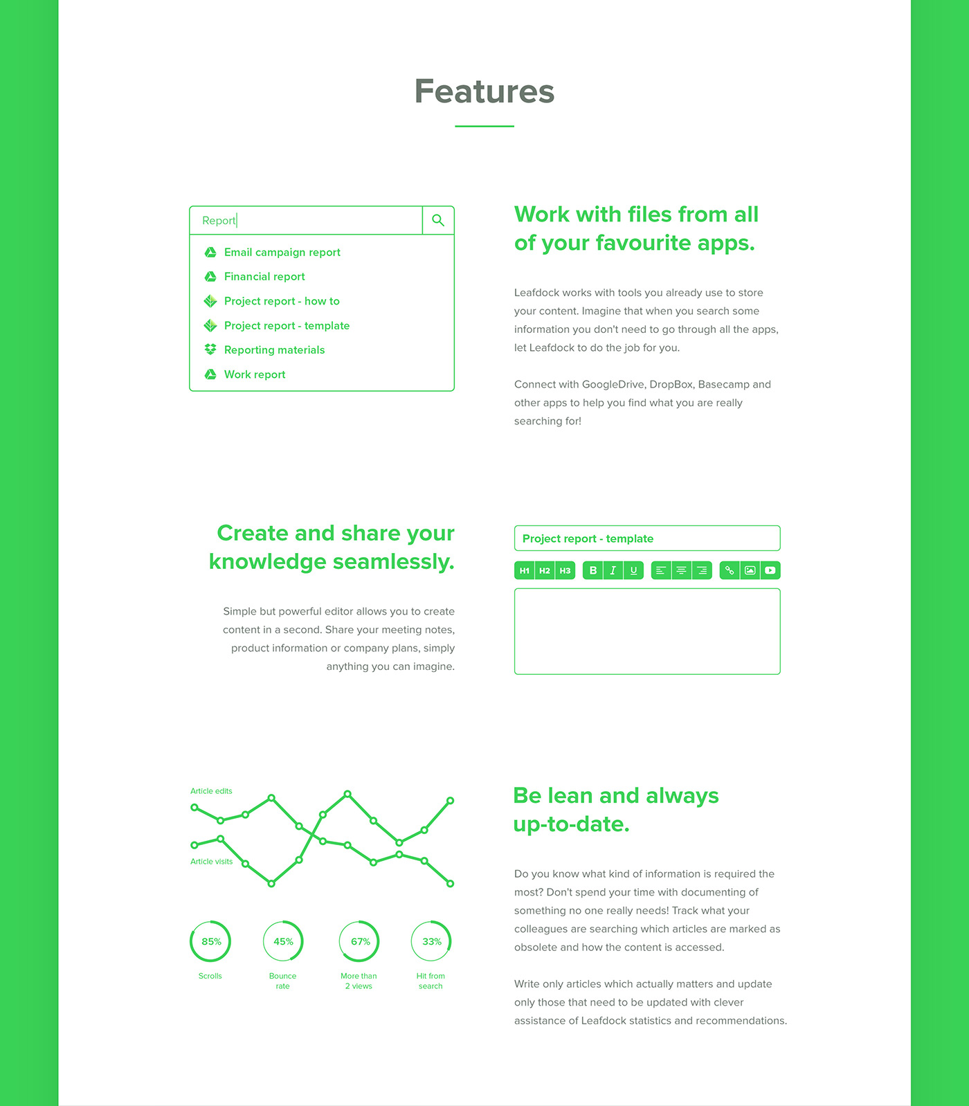 Leafdock app microsite logo fresh green guidlines Webdesign identity ux UI light blue application management software