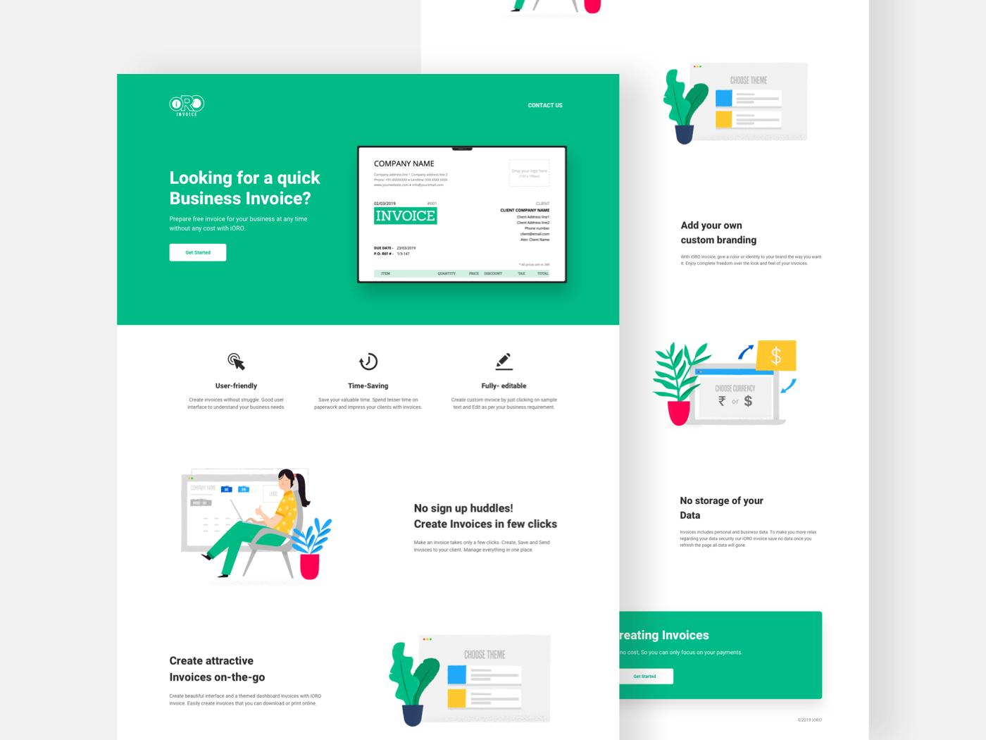 invoice design product Interaction design  landing page Landing Design Website