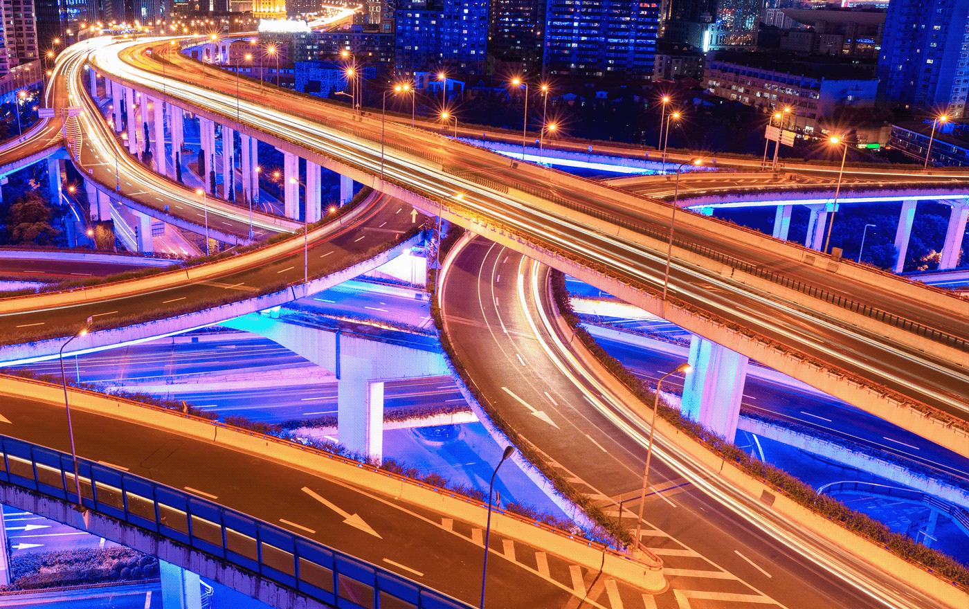 Image may contain: light, skyscraper and bridge