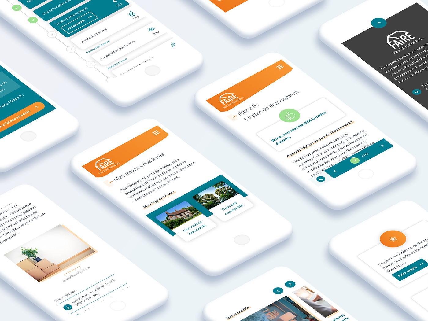 Les interfaces mobiles du site faire.fr.