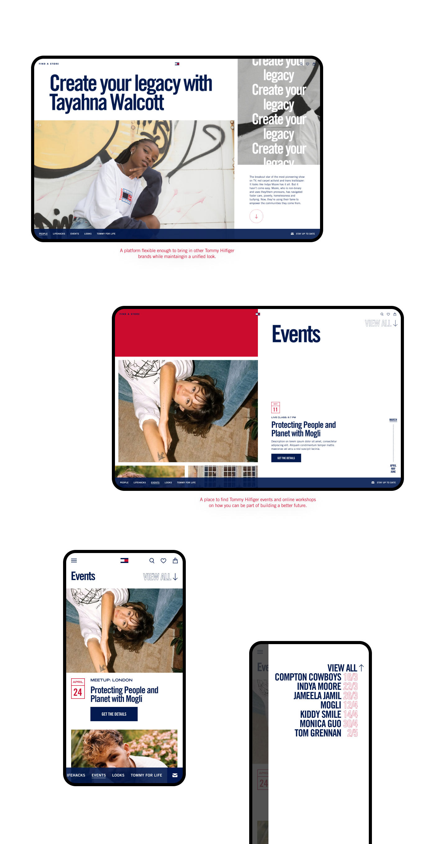 Design of the event pages using color blocks and designs from different campaigns with text overlays