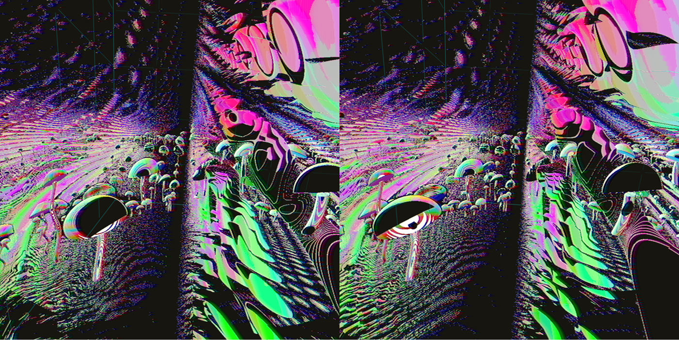 vr Virtual reality shader abstract psychedelic Stereoscopy 3D volumetric